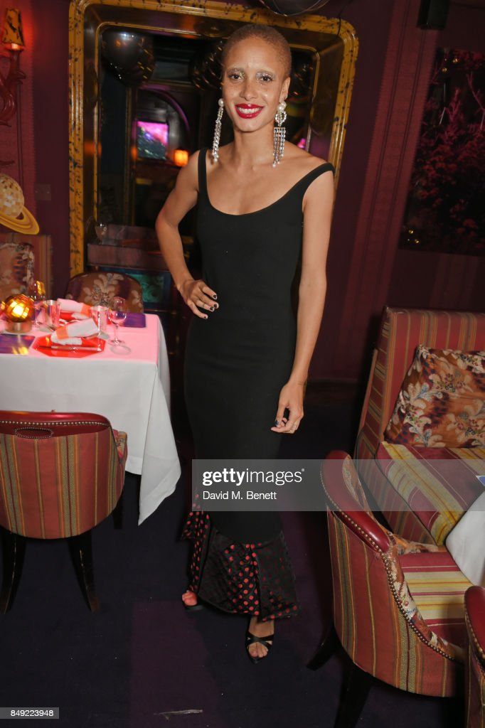 Adwoa Aboah attends the LOVE magazine x Miu Miu party, held during London Fashion Week, at Loulou's on September 18, 2017 in London, England.