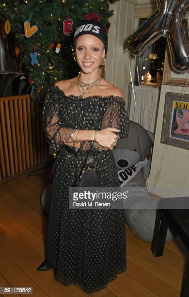 Adwoa Aboah attends the Love x Chaos x Poppy Delevingne x Moet Christmas Party at George on December 12 2017 in London England