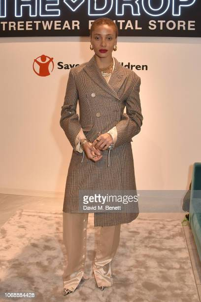 Adwoa Aboah attends the opening of 'The Drop' the UK's first streetwear rental space with all profits going towards Save the Children's Big Up Uganda...