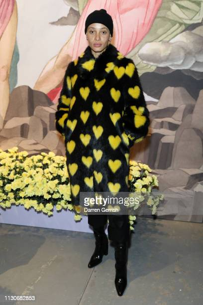 Adwoa Aboah attends the Shrimps show during London Fashion Week February 2019 at Ambika P3 on February 19, 2019 in London, England.