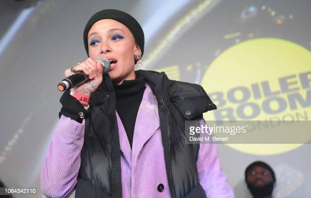 Adwoa Aboah celebrating all things London at the official Boiler Room x Range Rover Evoque launch after party at The Old Truman Brewery on November...