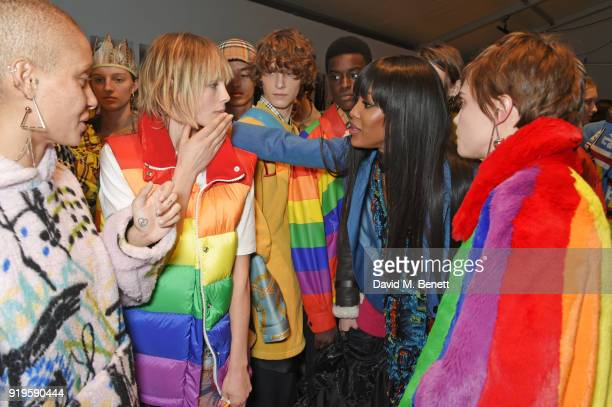 Adwoa Aboah Edie Campbell Naomi Campbell and Cara Delevingne wearing Burberry at the Burberry February 2018 show during London Fashion Week at Dimco...