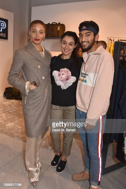 Adwoa Aboah guest and Nabhaan Rizwan attend the opening of 'The Drop' the UK's first streetwear rental space with all profits going towards Save the...