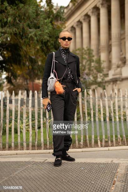Adwoa Aboah is seen on the street during Paris Fashion Week SS19 wearing Chanel on October 2 2018 in Paris France