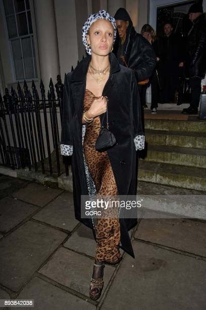 Adwoa Aboah leaving the Evgeny Lebedev Christmas party held at a private residence in North London on December 15 2017 in London England