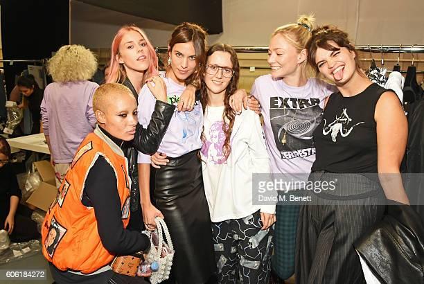 Adwoa Aboah Mary Charteris Alexa Chung designer Ashley Williams Clara Paget and Pixie Geldof pose backstage following the Ashley Williams runway show...