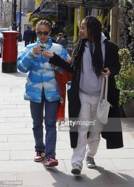 Adwoa Aboah out for lunch at Scott's restaurant on April 16, 2021 in London, England.