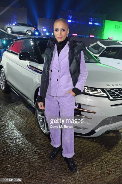 Adwoa Aboah poses alongside the new Range Rover Evoque during its World Premiere at The Old Truman Brewery on November 22 2018 in London England