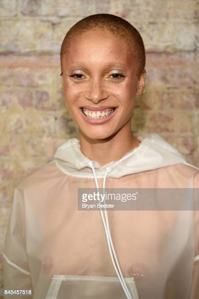 Adwoa Aboah poses backstage at the FENTY PUMA by Rihanna Spring/Summer 2018 Collection at Park Avenue Armory on September 10 2017 in New York City