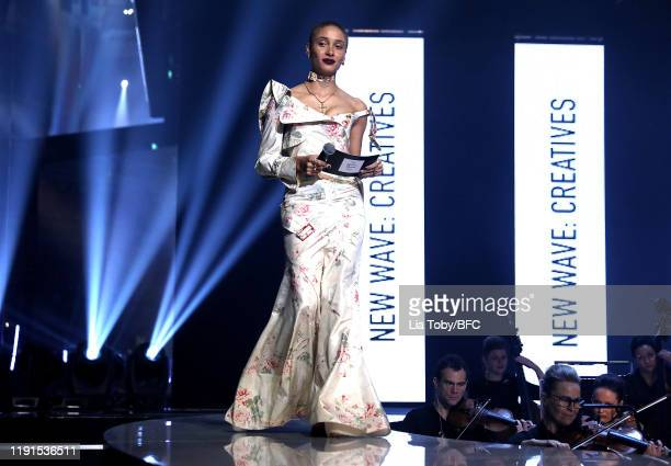 Adwoa Aboah presents the New Waves Creatives award on stage during The Fashion Awards 2019 held at Royal Albert Hall on December 02 2019 in London...