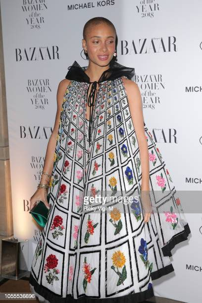 Adwoa Aboah seen attending the Harper's Bazaar Women of the Year Awards at The Ballroom of Claridge's on October 30 2018 in London Englan