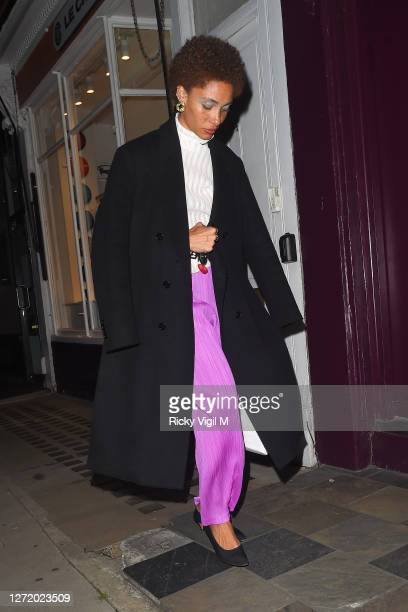 Adwoa Aboah seen celebrating designer Kim Jones birthday party at Laylow on September 11, 2020 in London, England.