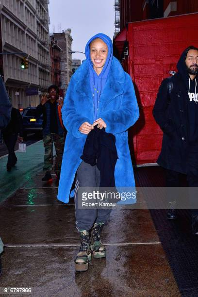 Adwoa Aboah seen out walking in SoHo on February 10 2018 in New York City