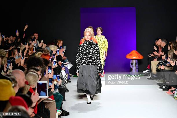 Adwoa Aboah walks the runway at the Ashley Williams Ready to Wear Fall/Winter 20192020 fashion show during London Fashion Week February 2019 on...