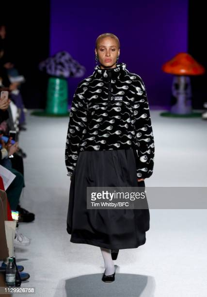 Adwoa Aboah walks the runway at the Ashley Williams show during London Fashion Week February 2019 on February 15 2019 in London England