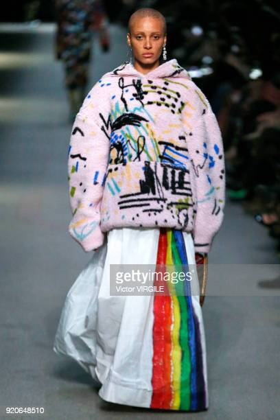 Adwoa Aboah walks the runway at the Burberry Ready to Wear Fall/Winter 20182019 fashion show during London Fashion Week February 2018 on February 17...