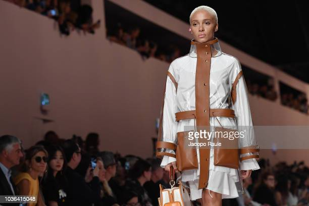 Adwoa Aboah walks the runway at the Fendi show during Milan Fashion Week Spring/Summer 2019 on September 20 2018 in Milan Italy