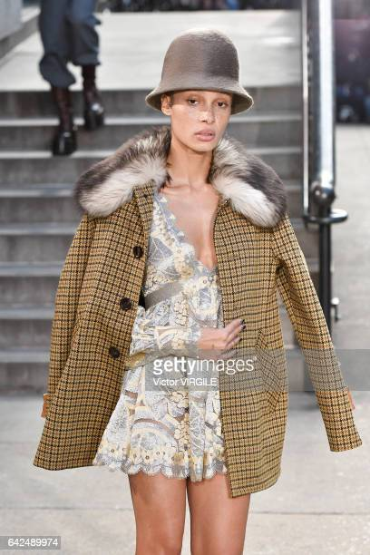 Adwoa Aboah walks the runway at the Marc Jacobs Ready to Wear Fall Winter 20172018 fashion show on February 16 2017 in New York City
