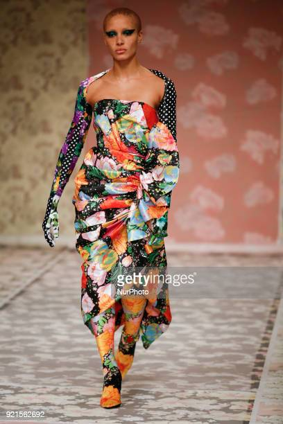 Adwoa Aboah walks the runway at the Richard Quinn show during London Fashion Week February 2018 at BFC Show Space on February 20 2018 in London...