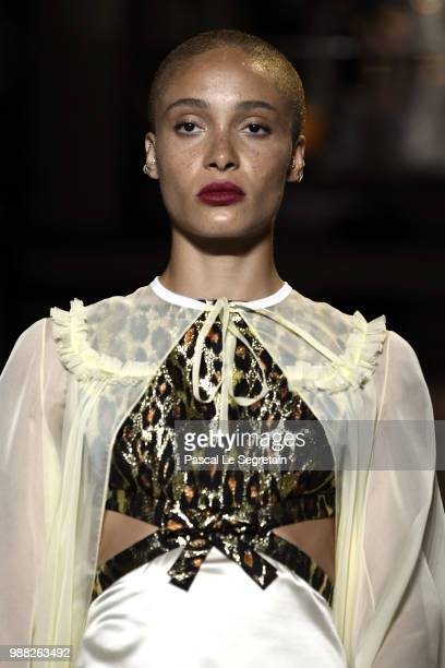 Adwoa Aboah walks the runway during Miu Miu 2019 Cruise Collection Show at Hotel Regina on June 30 2018 in Paris France