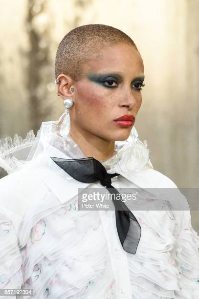 Adwoa Aboah walks the runway during the Chanel Paris show as part of the Paris Fashion Week Womenswear Spring/Summer 2018 on October 3 2017 in Paris...