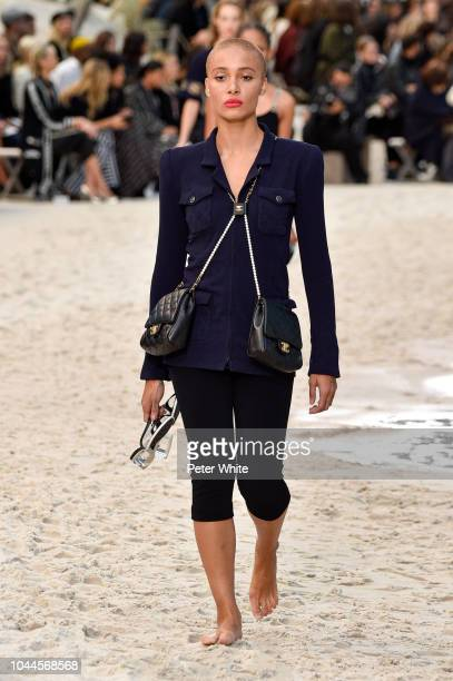Adwoa Aboah walks the runway during the Chanel show as part of the Paris Fashion Week Womenswear Spring/Summer 2019 on October 2 2018 in Paris France