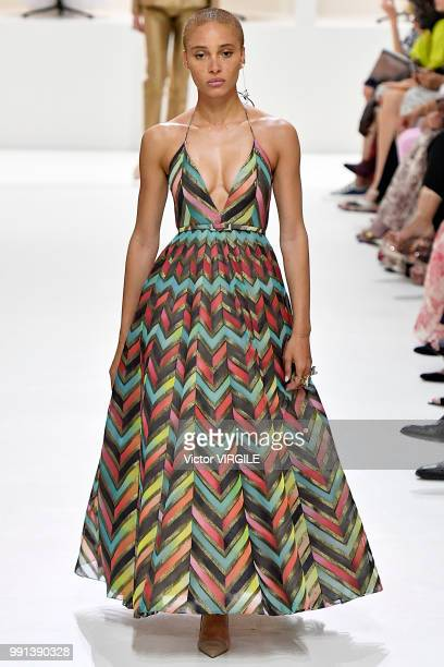 Adwoa Aboah walks the runway during the Christian Dior Haute Couture Fall Winter 2018/2019 fashion show as part of Paris Fashion Week on July 2 2018...
