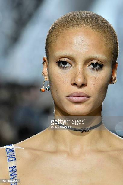 Adwoa Aboah walks the runway during the Christian Dior Ready to Wear Spring/Summer 2018 fashion show as part of Paris Fashion Week at Musee Rodin on...