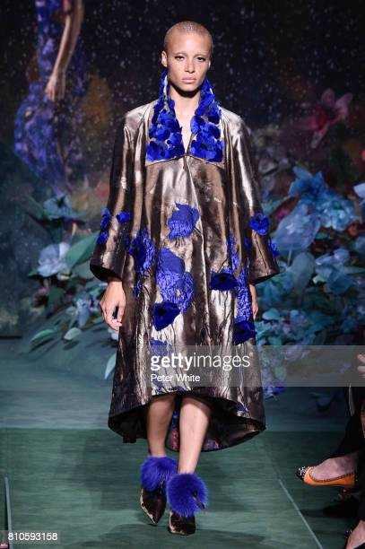 Adwoa Aboah walks the runway during the Fendi Haute Couture Fall/Winter 20172018 show as part of Haute Couture Paris Fashion Week on July 5 2017 in...