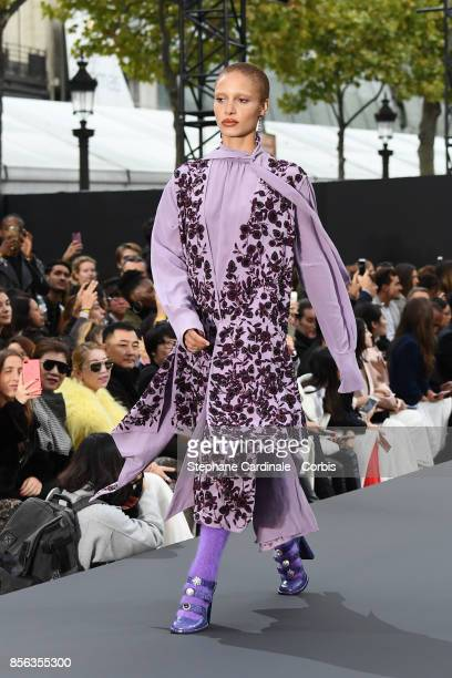 Adwoa Aboah walks the runway during the Le Defile L'Oreal Paris Spring Summer 2018 show as part of Paris Fashion Week at Avenue des ChampsElysees on...