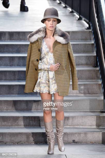 Adwoa Aboah walks the runway for the Marc Jacobs Fall 2017 Show at Park Avenue Armory on February 16 2017 in New York City