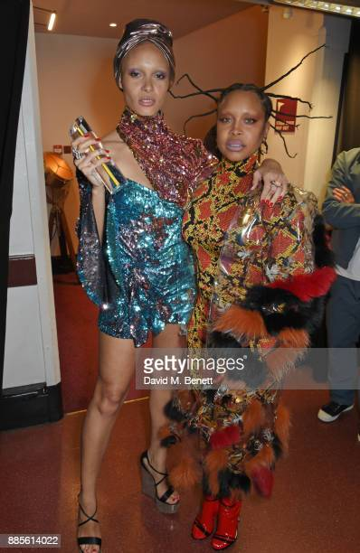 Adwoa Aboah winner of Model of the Year and Erykah Badu pose backstage at The Fashion Awards 2017 in partnership with Swarovski at Royal Albert Hall...