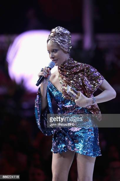 Adwoa Aboah winner of the award for Model of the Year on stage during The Fashion Awards 2017 in partnership with Swarovski at Royal Albert Hall on...
