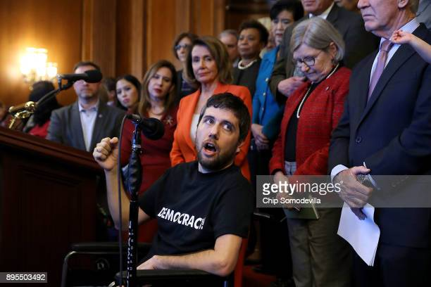 Ady Barkan who lives with Amyotrophic Lateral Sclerosis delivers remarks during a rally organized by House Minority Leader Nancy Pelosi in the...