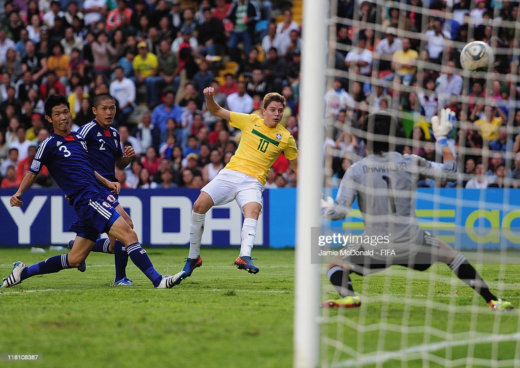 Adyran of Brazil scores a goal during the FIFA U-17 World Cup, Quarter Final match between Japan and Brasil at the Estadio Corregidora on July 3, 2011 in Queretaro, Mexico.
