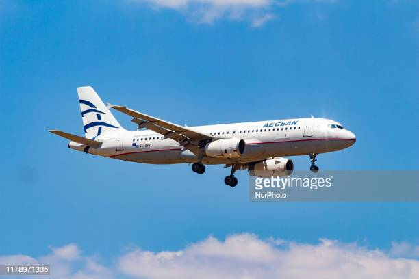 Aegean Airlines Airbus A320200 aircraft as seen on final approach landing at Athens International Airport AIA Eleftherios Venizelos ATH / LGAV in a...