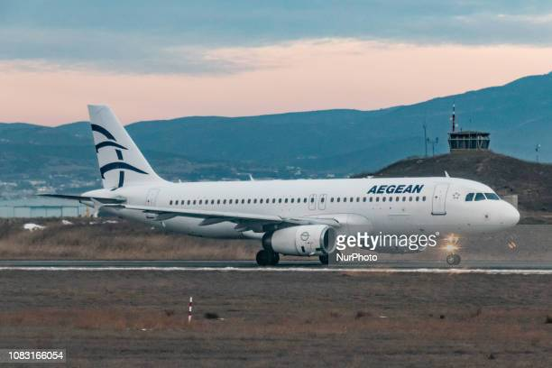 Aegean Airlines Airbus A320200 with registration SXDGX taxiing for departure at Thessaloniki International Airport Makedonia SKG / LGTS Aegean...