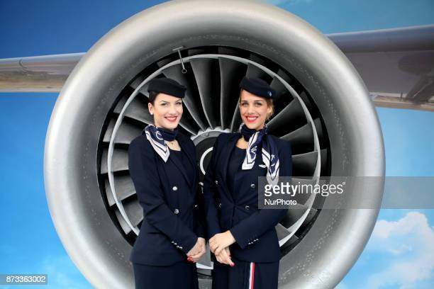 Aegean Airlines Crew poses in front of a turbine during the 35th Athens Classic Marathon in Athens Greece November 12 2017