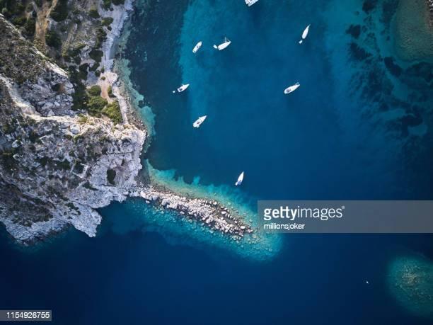 aegean coastline of knidos, datca - aegean sea stock pictures, royalty-free photos & images