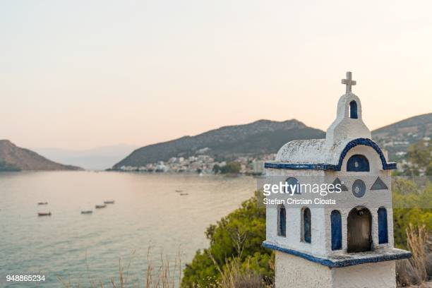 aegean sea at sunset - peloponnese stock photos and pictures