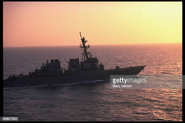 US Aegis class destroyer USS Russell cruising Persian Gulf waters enforcing nofly zone other restrictions against Iraq