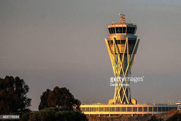 Aena operated Barcelona El Prat International Airport control tower is seen on February 11 2015 in Barcelona Spain Shares in statecontrolled Spanish...