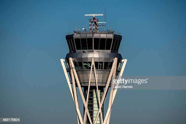 Aena operated Barcelona El Prat International Airport control tower is seen on February 10 2015 in Barcelona Spain Shares in statecontrolled Spanish...