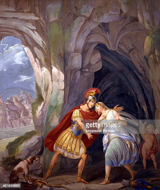 Aeneas and Dido in the cave by Sebastiano Santi 19th Century fresco Italy Veneto Rovigo Camerini Palace Whole artwork view Aeneas meets Dido in a...