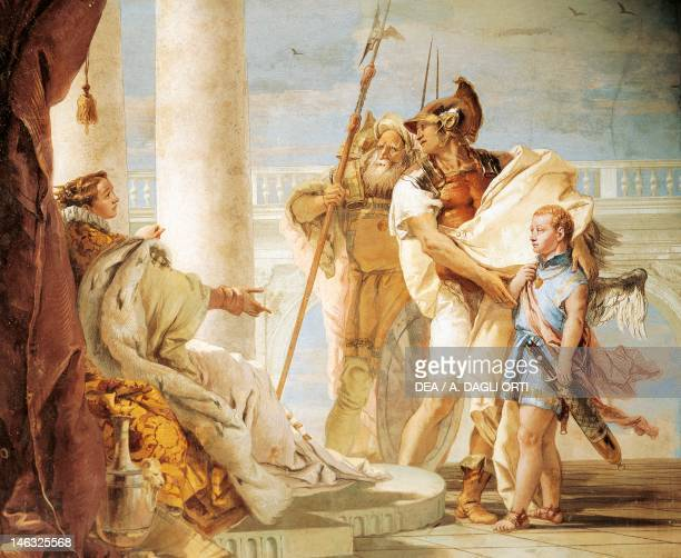 Aeneas introducing Cupid dressed as Ascanius to Dido by Giambattista Tiepolo fresco Room of the Aeneid Villa Valmarana 'Ai Nani' Vicenza