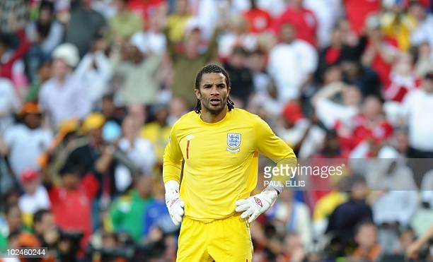AEngland's goalkeeper David James reacts during the 2010 World Cup round of 16 football match Germany vs. England on June 27, 2010 at Free State...