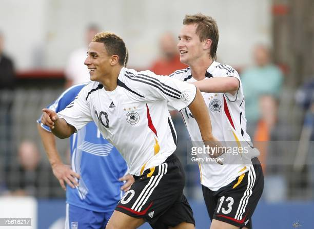 July 24: Aenis Ben-Hatira and Manuel Konrad celebrate the first goal for Germany during the UEFA U19 European Championship match between Germany and...