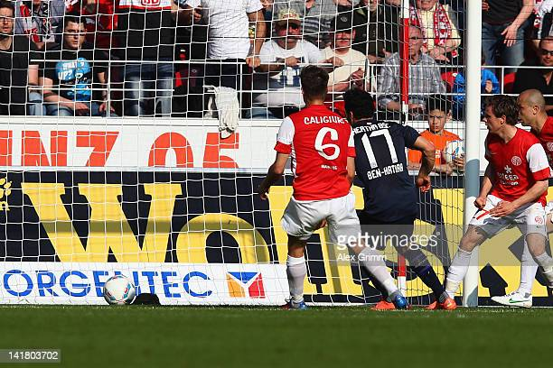 Aenis Ben-Hatira of Berlin scores his team's first goal during the Bundesliga match between FSV Mainz 05 and Hertha BSC Berlin at Coface Arena on...
