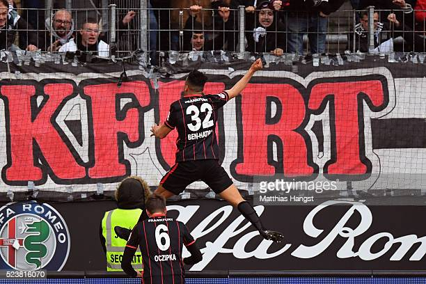 Aenis BenHatira of Frankfurt celebrates his team's second goal during the Bundesliga match between Eintracht Frankfurt and 1 FSV Mainz 05 at...