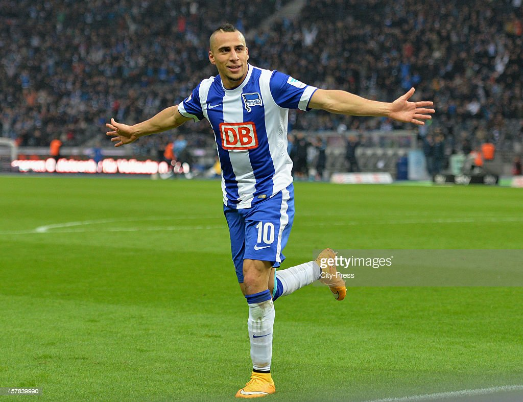 Aenis Ben-Hatira of Hertha BSC celebrates after scoring the 3:0 during the game between Hertha BSC and Hamburger SV on October 25, 2014 in Berlin, Germany.